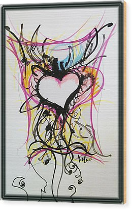 Crazy Heart Wood Print by Jon Veitch