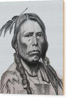 Crazy Horse Wood Print by Stan Hamilton