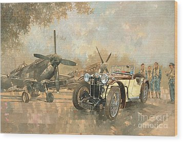 Cream Cracker Mg 4 Spitfires  Wood Print by Peter Miller