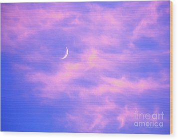Crescent Moon Behind Cirrus Cloud In The Evening Wood Print by Gordon Wood