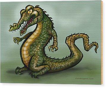 Crocodile Wood Print by Kevin Middleton