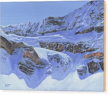 Crowfoot Glacier Wood Print by Glen Frear
