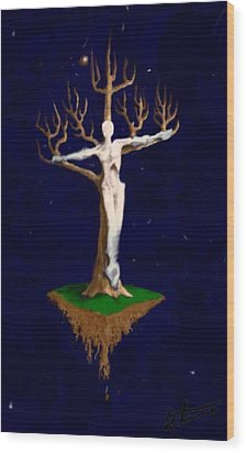 Crucifix Wood Print by Steve  Hester