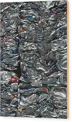 Crushed Cans Wood Print