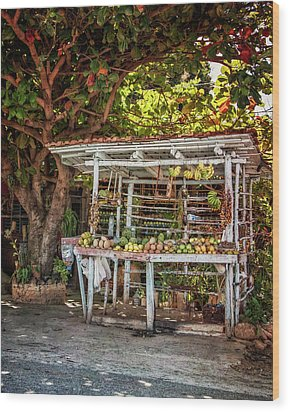 Wood Print featuring the photograph Cuban Fruit Stand by Joan Carroll