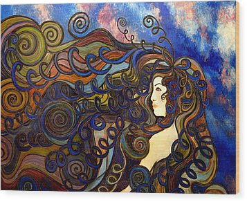 Curly Girl Wood Print by Monica Furlow