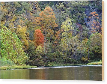 Current River Fall Wood Print by Marty Koch
