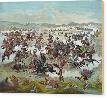 Wood Print featuring the painting Custer's Last Stand by War Is Hell Store
