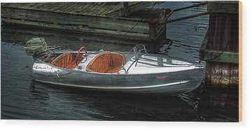 Cute Boat - 1948 Feather Craft Wood Print