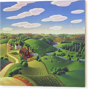 Wood Print featuring the painting Dairy Farm  by Robin Moline