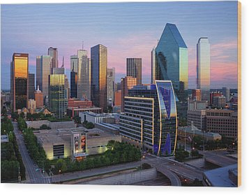Dallas Skyline At Dusk Wood Print by Jeremy Woodhouse