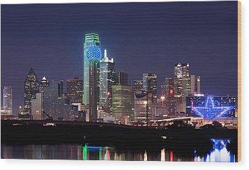Dallas Skyline Cowboys Wood Print