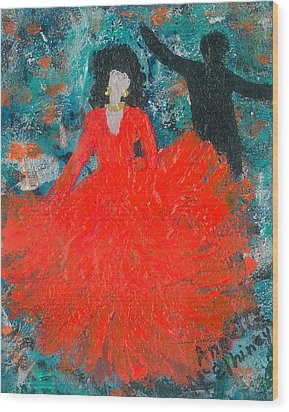 Wood Print featuring the painting Dancing Joyfully With Or Without Ned by Annette McElhiney