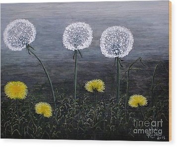 Dandelion Family Wood Print by Judy Kirouac
