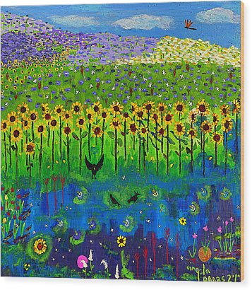 Day And Night In A Sunflower Field  Wood Print by Angela Annas
