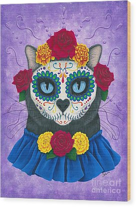 Wood Print featuring the painting Day Of The Dead Cat Gal - Sugar Skull Cat by Carrie Hawks