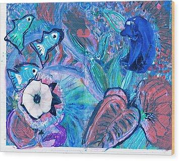 De Bear No Lookee De Fish Get Wey Wood Print by Anne-Elizabeth Whiteway
