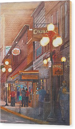Deadwood Nights Wood Print by Ally Benbrook