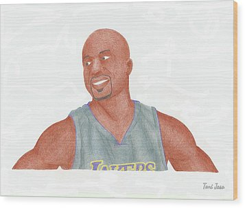 Derek Fisher Wood Print by Toni Jaso