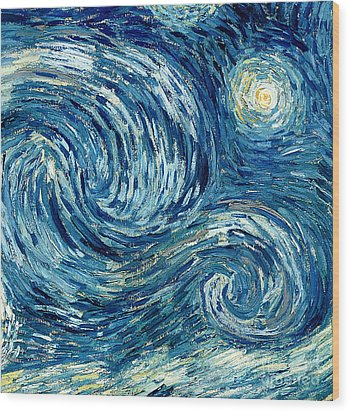 Detail Of The Starry Night Wood Print by Vincent Van Gogh