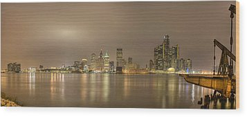 Detroit At Night Wood Print by Andreas Freund