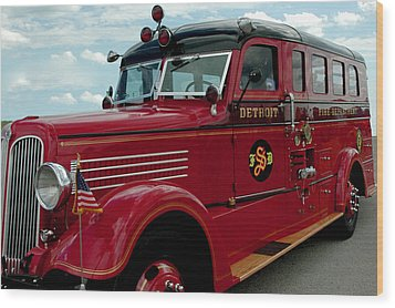 Detroit Fire Truck Wood Print