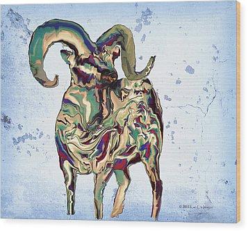 Digital Bighorn Ram Wood Print by Kae Cheatham
