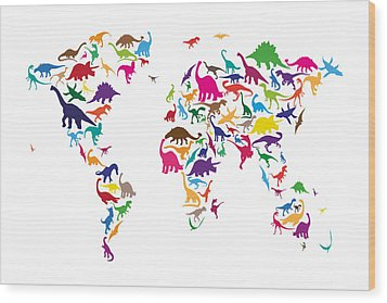 Dinosaur Map Of The World Map Wood Print by Michael Tompsett