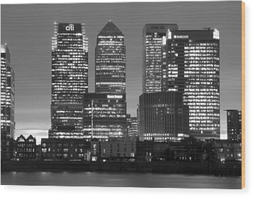 Docklands Canary Wharf Sunset Bw Wood Print