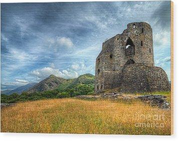 Dolbadarn Castle Wood Print by Adrian Evans