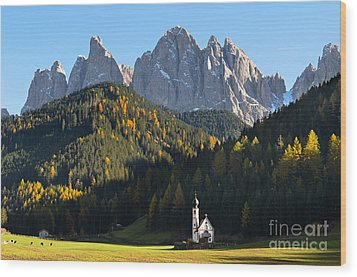 Dolomites Mountain Church Wood Print