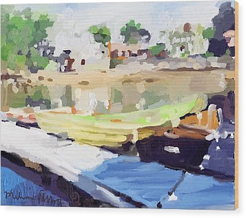 Dories At Beacon Marine Basin Wood Print by Melissa Abbott