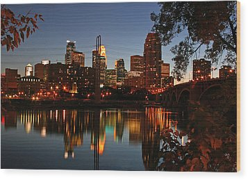 Downtown Minneapolis At Night Wood Print