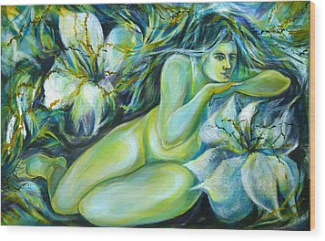 Dreaming Flower Wood Print by Anna  Duyunova