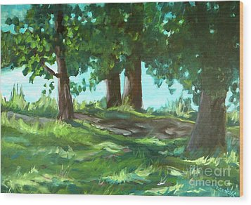 Dreaming On Fellows Lake Wood Print by Jan Bennicoff