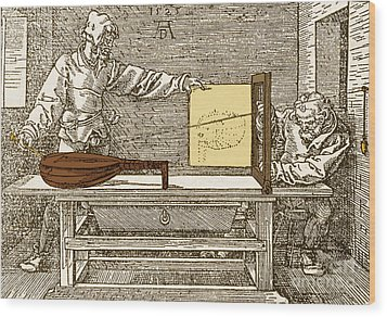 Durers Perspective Drawing Of A Lute Wood Print by Science Source