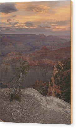 Wood Print featuring the photograph Dusk From Mather Point by Stephen  Vecchiotti
