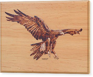 Wood Print featuring the pyrography Eagle by Ron Haist