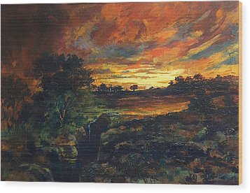 Wood Print featuring the painting Earth Light Series Lights On  by Len Sodenkamp