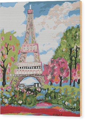 Eiffel Tower Dream Wood Print by Karen Fields