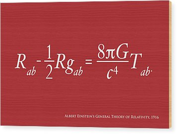 Einstein Theory Of Relativity Wood Print by Michael Tompsett
