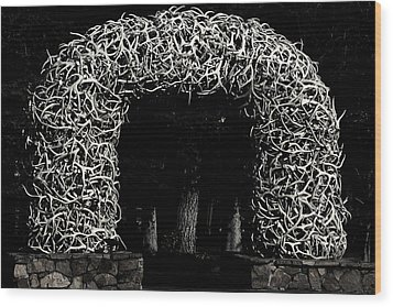 Elk Antlers Gate Jackson Hole Wy Wood Print by Christine Till