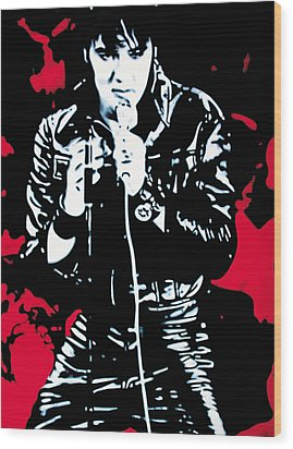 Elvis Wood Print by Luis Ludzska