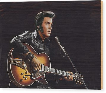 Elvis Presley Wood Print by Dominique Amendola