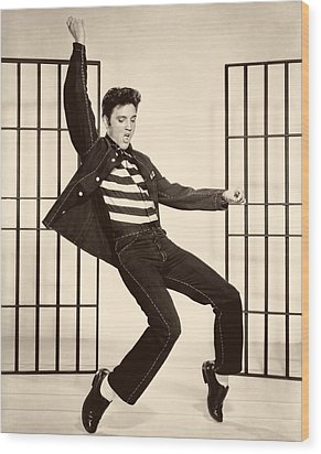 Elvis Presley In Jailhouse Rock 1957 Wood Print by Mountain Dreams