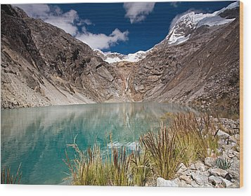 Emerald Green Mountain Lake At 4500m Wood Print