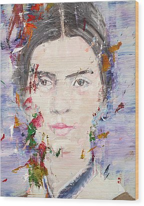 Wood Print featuring the painting Emily Dickinson - Oil Portrait by Fabrizio Cassetta
