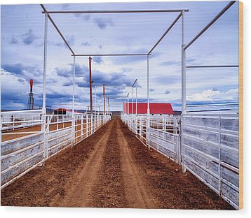 Empty Corrals Wood Print by L O C