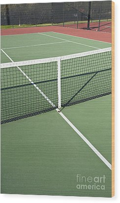 Empty Tennis Court Wood Print by Thom Gourley/Flatbread Images, LLC