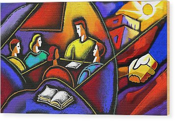 Wood Print featuring the painting Enterprise by Leon Zernitsky